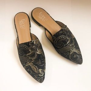 Gold Floral Patten Loafers